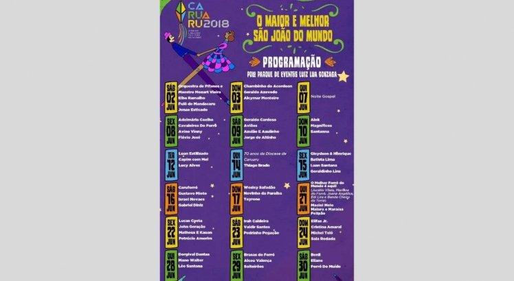Programação do São João de Caruaru em 2018