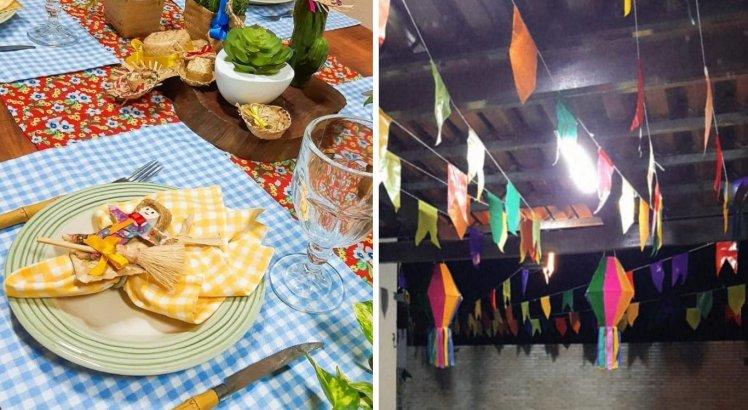 A casa da família fica decorada, da mesa ao teto, durante o mês de junho
