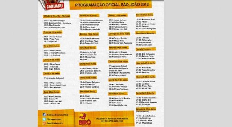 Programação do São João de Caruaru em 2010