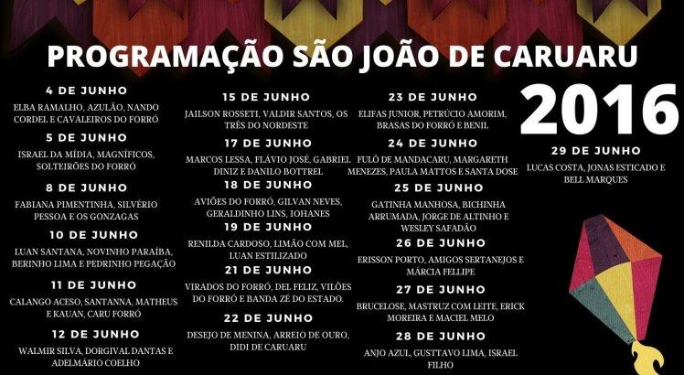 Programação do São João de Caruaru em 2016
