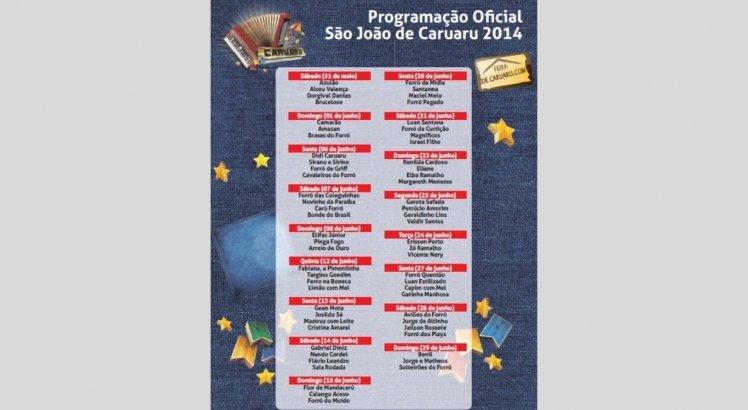 Programação do São João de Caruaru em 2014