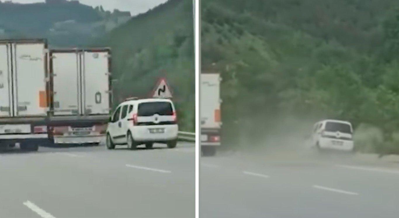 Carro força a ultrapassagem, mas é fechado pelo caminhão