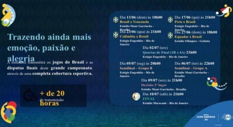 Os jogos do Brasil na Copa América serão transmitidos pela TV Jornal