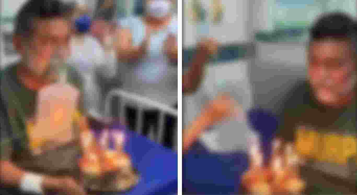 O paciente aparece assoprando as velas do bolo