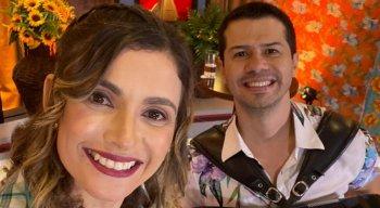 Anne Barretto e Dudu do Acordeon no segundo episódio do Forrobodó, da Rádio Jornal