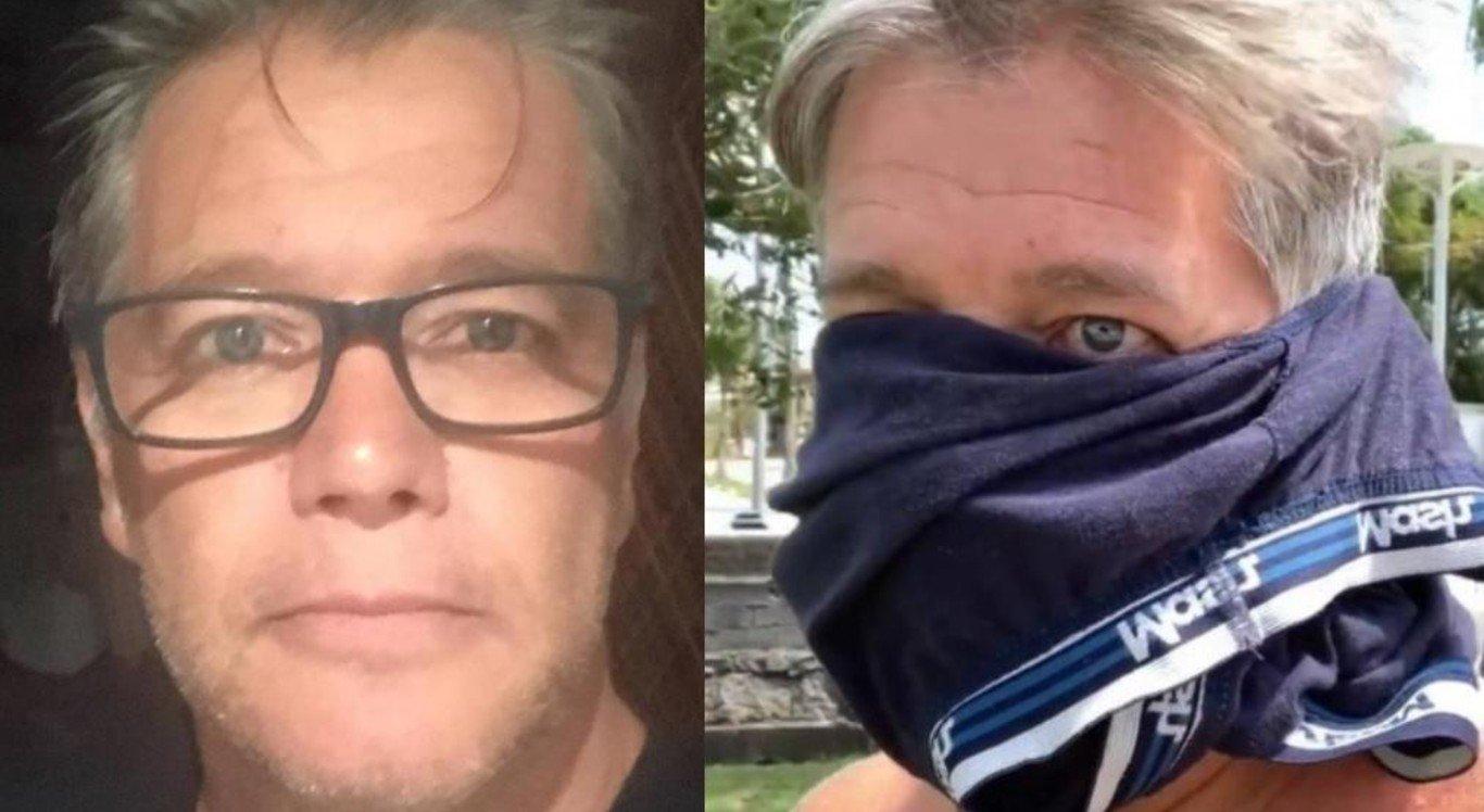 David Cardoso Júnior foi a protesto contra isolamento social com cueca no rosto