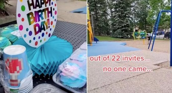 Mãe compartilha vídeo de filho brincando sozinho após nenhum convidado aparecer na festa de aniversário dele; assista
