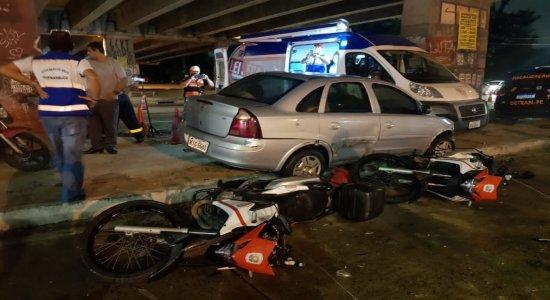 Motorista com sinais de embriaguez perde controle e bate em carros da Lei Seca no Recife