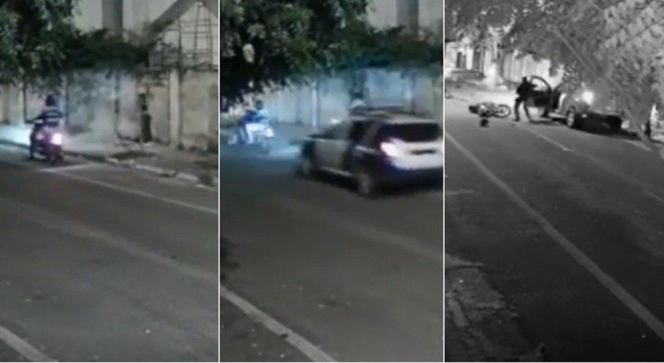 O vídeo mostra o momento em que o guarda atropela o assaltante
