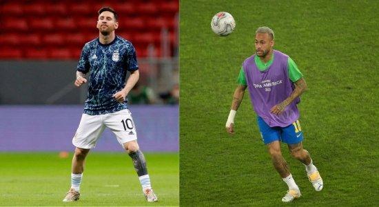 Messi (E) e Neymar (D) são os grandes protagonistas da Copa América 2021
