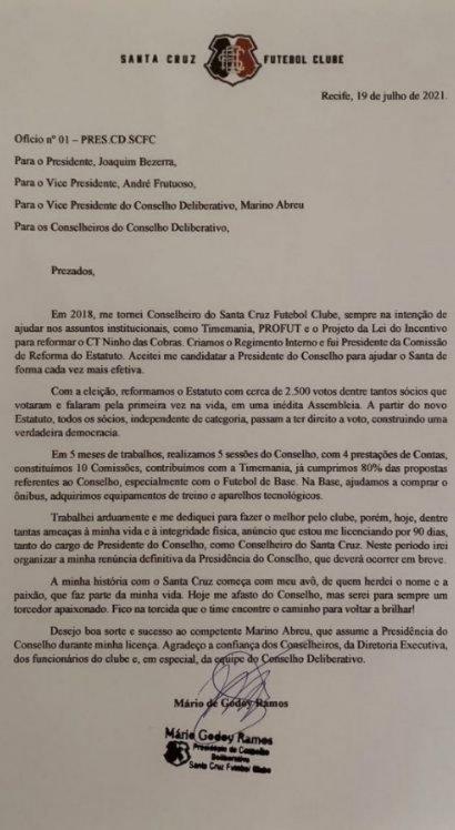 Mário Godoy enviou comunicado aos conselheiros informando o seu afastamento