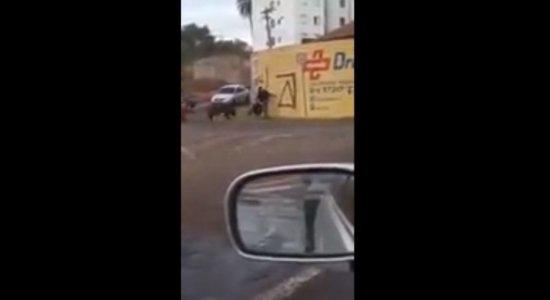 Entregador fica ferido após ser derrubado e mordido por porco; veja vídeo