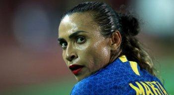 Jogadora Marta fez um gol de pênalti.