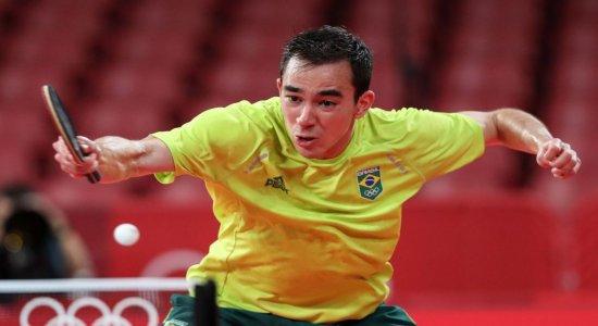 Hugo Calderano é eliminado nas quartas de final do tênis de mesa