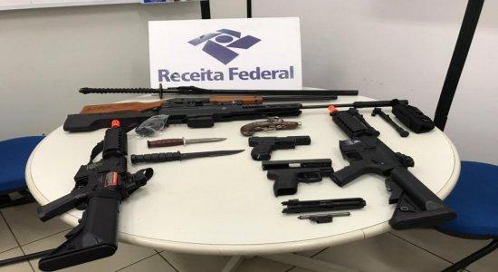 Receita Federal apreende armas e mercadorias escondidas em Suape; valor estimado é de R$500 mil