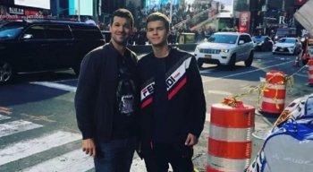 Michael Ballack e o filho falecido, Emilio Ballack, em foto publicada na redes sociais