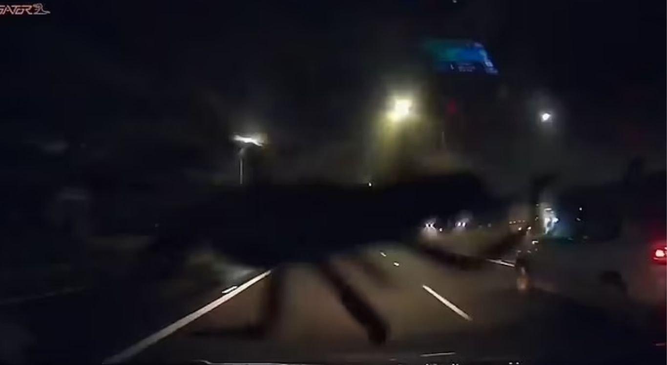 O carro estava a 96 km/h quando os homens se assustaram com a aranha