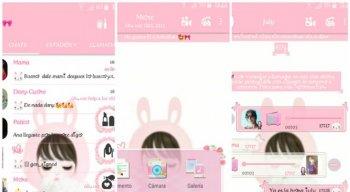 Um dos exemplos de uso do FMWhatsApp que deixa o aplicativo rosa