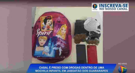 Casal é preso portando drogas dentro de uma mochila infantil em Jaboatão dos Guararapes