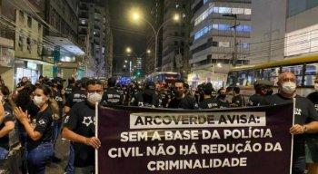 Policiais civis de Pernambuco realizaram um protesto no centro do Recife em agosto