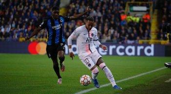 Neymar em partida do PSG na UEFA Champions League 2021/2022.