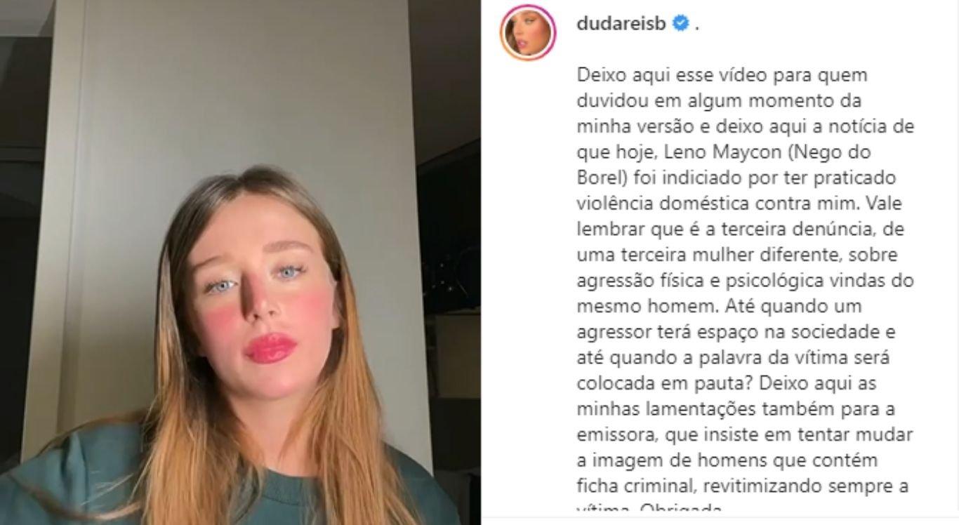 Duda Reis afirma que Nego do Borel foi indiciado por violência doméstica