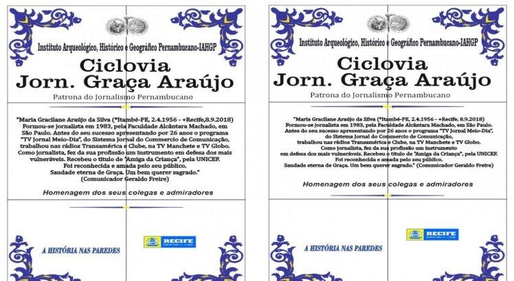 Placa da ciclovia Graça Araújo
