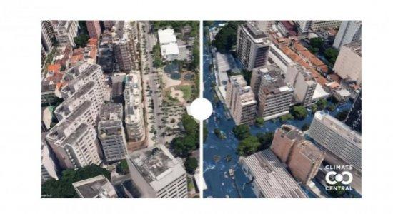 Fotos mostram como ficariam Recife, Salvador, Rio de Janeiro e Fortaleza se o nível do mar subisse e água invadisse ruas