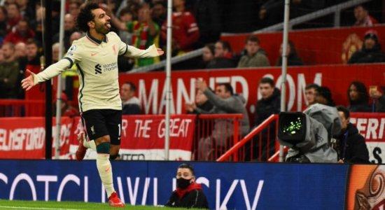 Salah marcou três no clássico entre Manchester United x Liverpool no Old Trafford