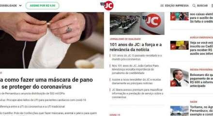 Print da capa do site do Jornal do Commercio