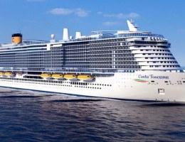 O Costa Toscana, maior navio da frota Costa Cruzeiro, fará sua estreia global no Brasil em 26 de dezembro de 2021, para o Réveillon.