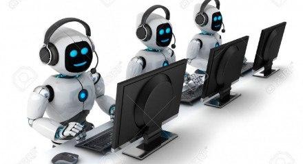 Robôs trabalhando