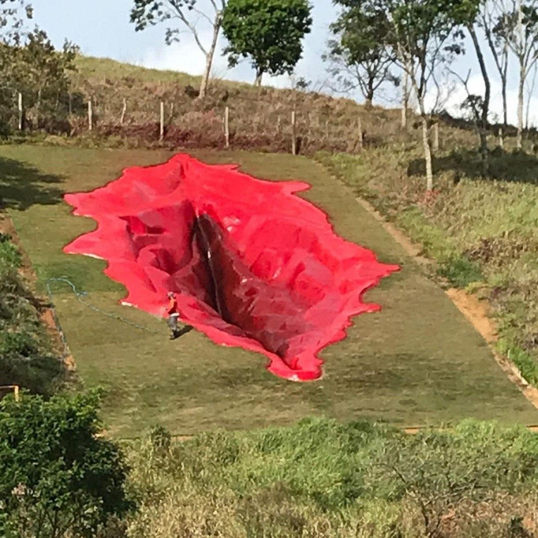 Artista plástica molda vagina de 33 metros em Zona da Mata Sul pernambucana