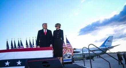 O presidente em fim de mandato dos EUA, Donald Trump, em Washington, DC, em 20 de janeiro de 2021