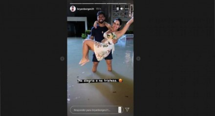 Bryan e a esposa ilhados após as fortes chuvas no Grande Recife