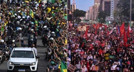 Atos a favor e contra Bolsonaro no Rio e em São Paulo, respectivamente