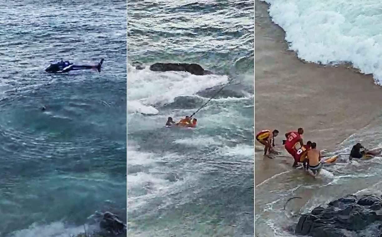 Banhista agride guarda-vidas durante salvamento em Salvador, e helicóptero da PM é acionado para dar apoio