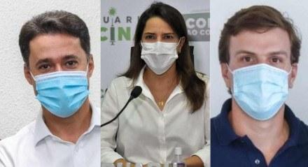 Prefeito de Jaboatão dos Guararapes, Anderson Ferreira (PL); prefeita de Caruaru, Raquel Lyra (PSDB) e prefeito de Petrolina, Miguel Coelho (MDB)