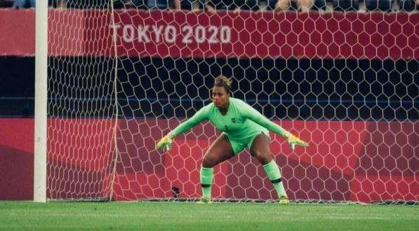 Bárbara em ação pela Seleção Brasileira na estreia das Olimpíadas de Tóquio.