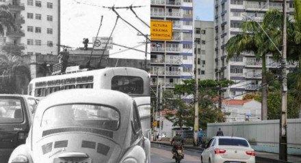 À esquerda, ônibus elétricos na Avenida Cruz Cabugá, Centro do Recife. À direita, atuais meios de transportes na mesma avenida
