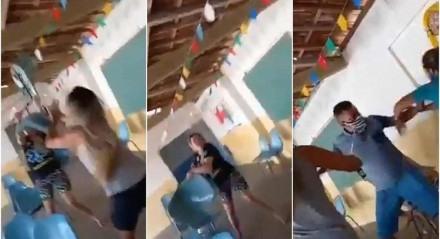 Nas imagens, três mulheres e um homem trocam empurrões, discutem e chegam até a atirar cadeiras uns contra os outros