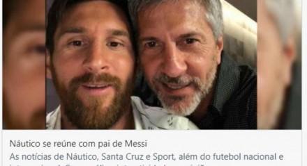Reunião do pai de Messi com dirigentes do Náutico aconteceu em 2018.