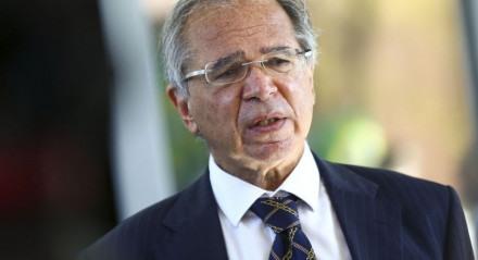 O ministro da Economia, Paulo Guedes, durante entrevista coletiva.