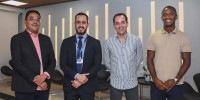 O CEO da Nogueira Corretores, Armando Nogueira, o superintendente executivo de Habitação da Caixa Singular, Marcelo Maia, e os empresários da Due/Árbore Vinícius Silveira e Adailton Santos