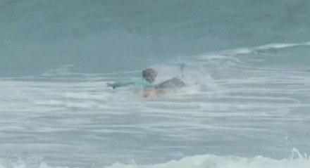 Doyle Nielson estava aproveitando o mar, remando na água de ondas agitadas quando, de repente, foi atacado.