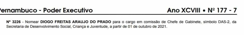 Nomeação de Diogo Prado