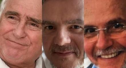 O ator Luis Gustavo e seus sobrinhos, os atores Cassio Gabus Mendes e Tato Gabus Mendes