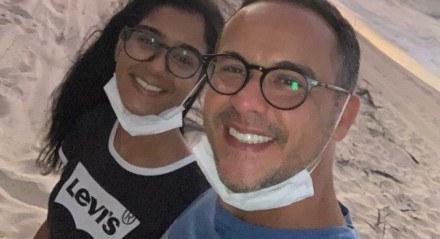 Mel Campos e o pai, o defensor público Adriano Leitinho