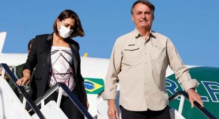 Presidente da República Jair Bolsonaro acompanhado da Sra. Michelle Bolsonaro, desembarcam no Aeroporto Internacional John Fitzgerald Kennedy, nos EUA