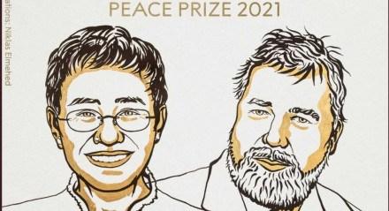 Na ilustração, estão Maria Ressa e Dmitry Muratov, vencedores do prêmio Nobel da Paz de 2021